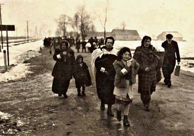 Deportacja Żydów z Mielca w marcu 1942 r. Marsz z mieleckiego rynku do hangarów koło Chorzelowa