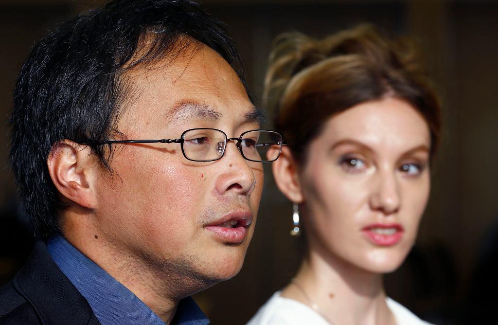 Reżyser Koji Fukada i aktorka Bryerly Long na festiwalu filmowym w Tokio.