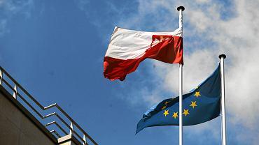 Flaga Polski i Unii Europejskiej