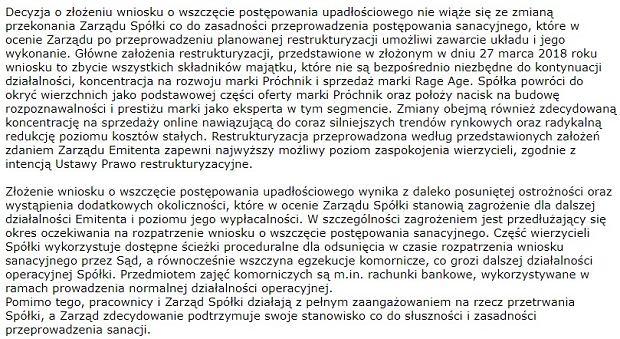 Fragment komunikatu Próchnika o złożeniu wniosku o upadłość