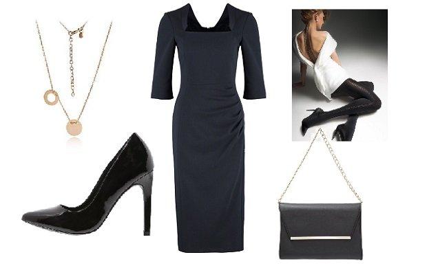 sukienka LK Bennett, buty Even&Odd, kopertówka Dorothy Perkins, rajstopy Gatta, biżuteria AnKa