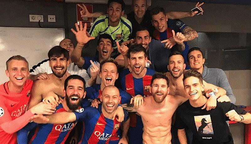 Radość piłkarzy Barcelony z elementami kontrowersji