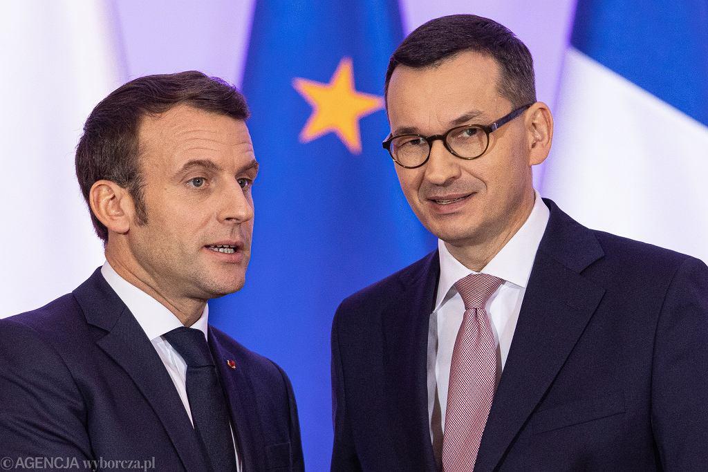 Emmanuel Macron i Mateusz Morawiecki