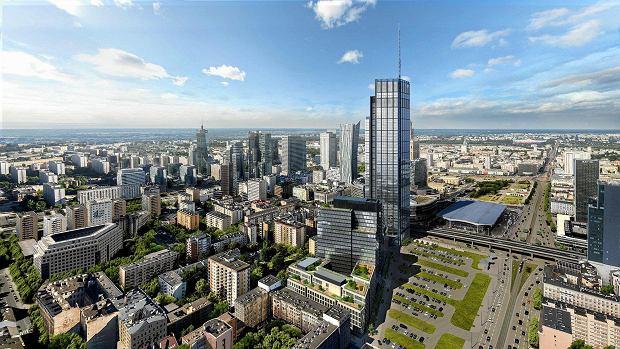 Wizualizacja zespołu wieżowców Varso przy ul. Chmielnej. 310-metrowa wieża będzie najwyższym budynkiem w Unii Europejskiej. Kompleks powstaje na podstawie warunków zabudowy, a nie planu zagospodarowania.