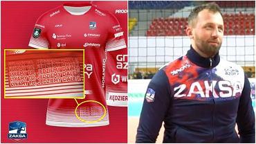 Paweł Brandt, fizjoterapeuta Zaksy Kędzierzyn-Koźle i koszulka z hasłem, które wykrzykuje podczas meczów