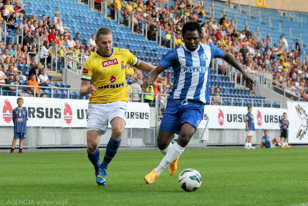Motor Lublin - Stal Rzeszów 1:0. Z lewej Damian Falisiewicz