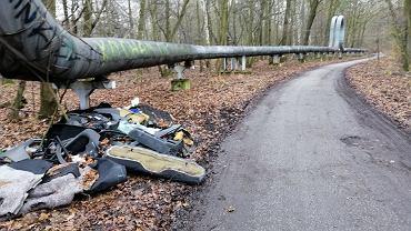 Śmieci zwożone do lasu między Katowicami a Rudą Śląską