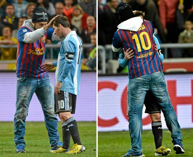 A combination photo shows Argentina's Lionel Messi being hugged by a supporter dressed in a Barcelona Messi jersey who managed to get onto the field during an international friendly match against Sweden at Friends Arena in Stockholm, Sweden, February 6, 2013. REUTERS/Leo Sellen/Scanpix Sweden (SWEDEN - Tags: SPORT SOCCER)    ATTENTION EDITORS - THIS IMAGE WAS PROVIDED BY A THIRD PARTY. NO COMMERCIAL SALES. SWEDEN OUT. NO COMMERCIAL OR EDITORIAL SALES IN SWEDEN. THIS PICTURE IS DISTRIBUTED EXACTLY AS RECEIVED BY REUTERS, AS A SERVICE TO CLIENTS SLOWA KLUCZOWE: :rel:d:bm:GF2E9261OHS01 - - - - -