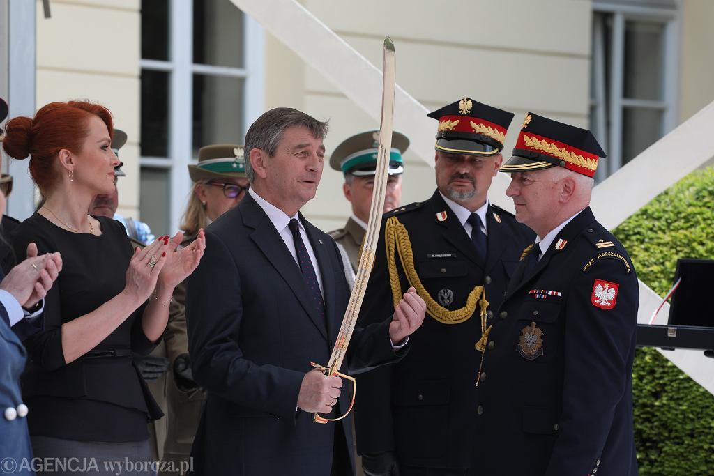 Marszałek Sejmu Marek Kuchciński podczas święta Straży Marszałkowskiej. Warszawa, 20 maja 2019