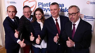 Od lewej: Borys Budka, Bartłomiej Sienkiewicz, Joanna Mucha, Tomasz Siemoniak i Bogdan Zdrojewski