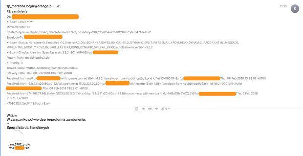Fałszywa wiadomość od Orange z załącznikiem