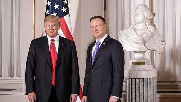 Prezydenci Donald Trump i Andrzej Duda na szczycie inicjatywy Trojmorza w Warszawie