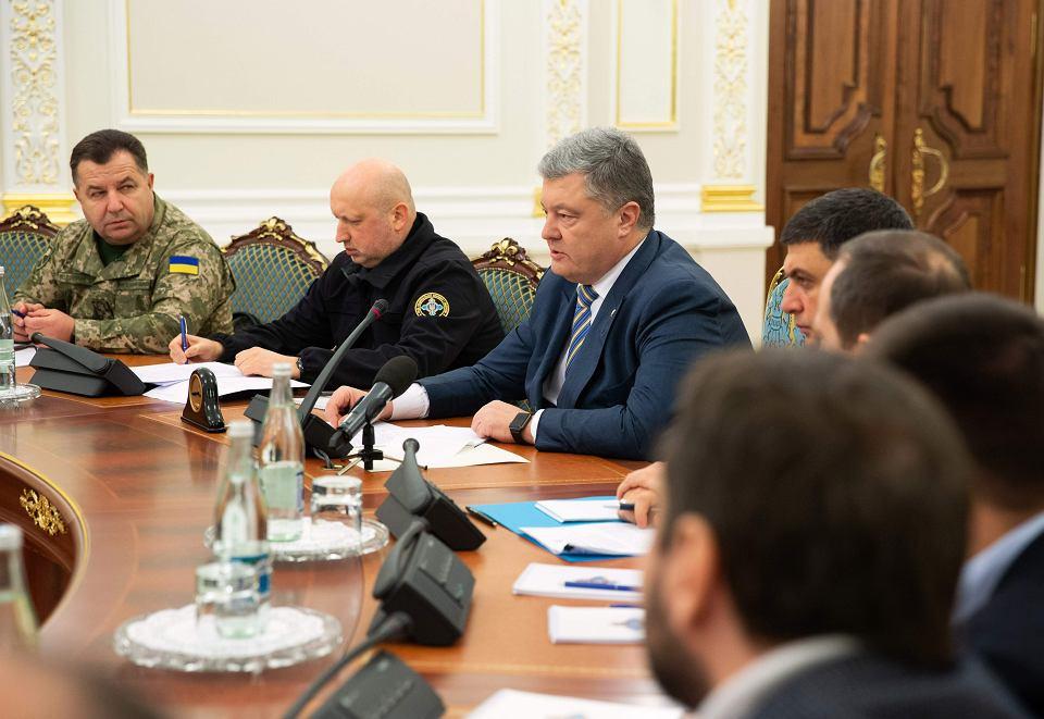 26.11.2018, Kijów, prezydent Ukrainy Petro Poroszenko podczas posiedzenia Rady Bezpieczeństwa Narodowego.