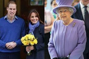 Księżna Kate, książę William, królowa Elżbieta.