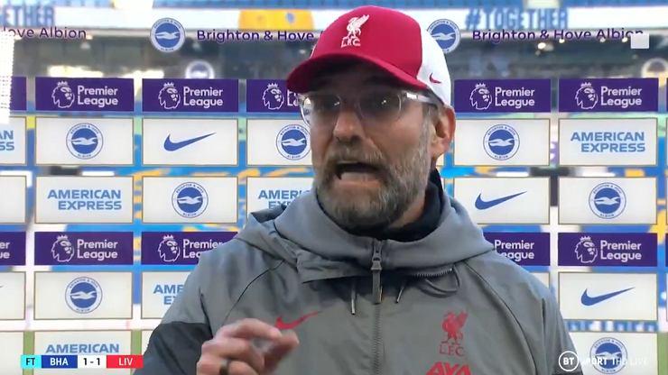 Klopp wybuchł po meczu. Ten wywiad przejdzie do historii Premier League
