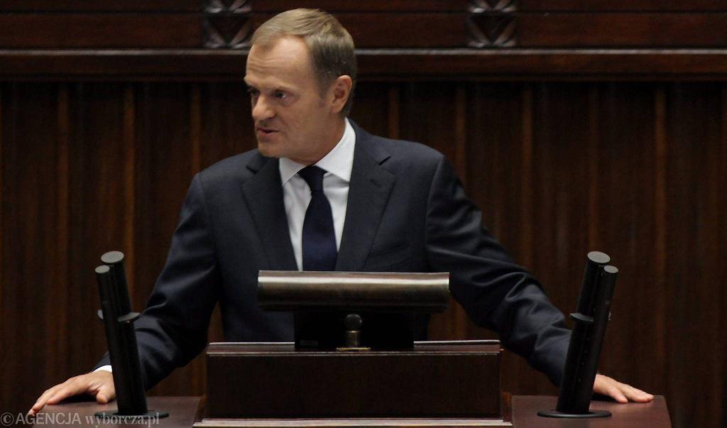 Donald Tusk przemawia w Sejmie