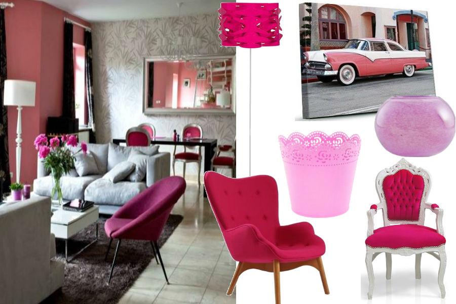 Różowe dodatki do salonu