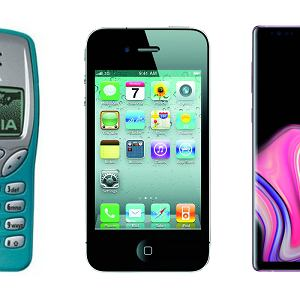 Nokia 3210, iPhone 4 i Samsung Galaxy Note 9