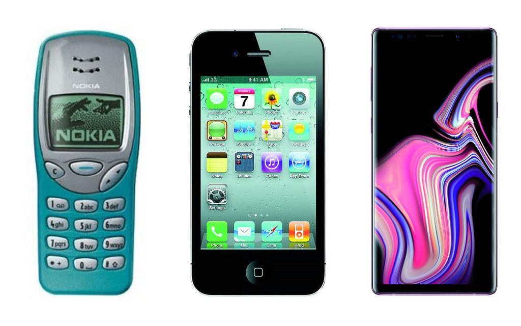 Nokia 3210, iPhone 4 i Samsung Galaxy Note 9