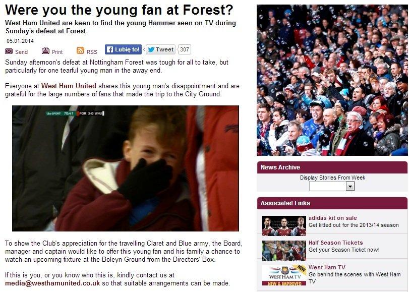 Screen z oficjalnej strony West Hamu
