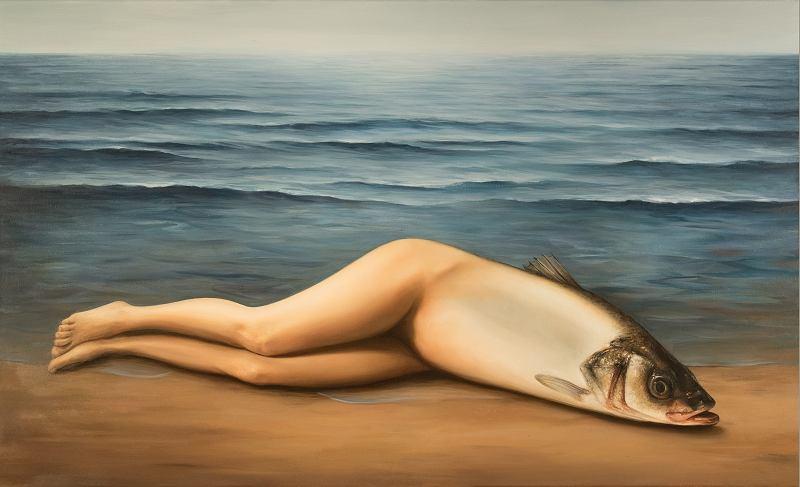 Ewa Juszkiewicz, Bez tytułu (według René Magritte'a 'Kolektywny wynalazek' ), 2017, olej na płótnie, 74 x 116 cm. Dzięki uprzejmości artystki. / fot. Jakub Mozolewski