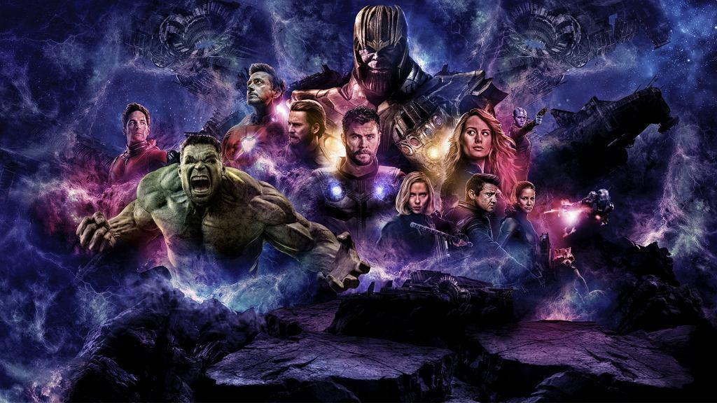 'Avengers: Koniec gry'. Od lewej: Ant-Man (Paul Rudd), Hulk (Mark Ruffalo), Iron Man (Robert Downey Jr.), Kapitan Ameryka (Chris Evans), Thor (Chris Hemsworth), Thanos (Josh Brolin), Czarna wdowa (Scarlett Johansson), Kapitan Marvel (Brie Larson), Nebula (Karen Gillan), Hawkeye (Jeremy Renner), Osa (Evangeline Lilly), Rocket (Bradley Cooper), War Mashine (Don Cheadle)
