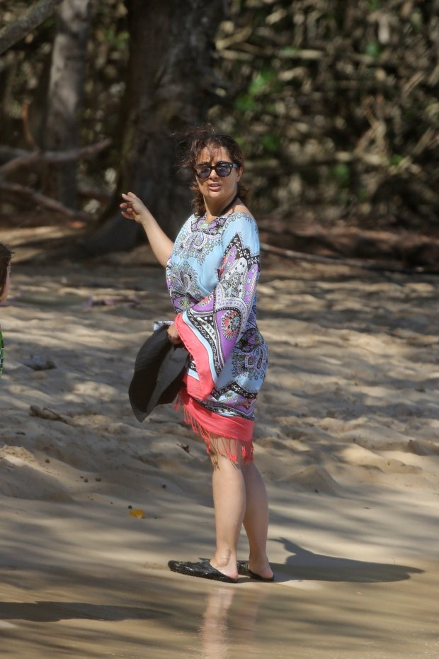 EXCLUSIVE: **PREMIUM RATES APPLY** **NO WEB UNTIL 0530AM GMT AUGUST 18, 2015** Salma Hayek goes on an ATV tour and then stops by the beach while on vacation with her family in Hawaii.  Pictured: Salma Hayek