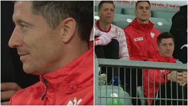 Robert Lewandowski na trybunach podczas meczu Polska - Rosja we Wrocławiu