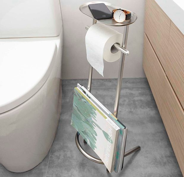 Stojak na papier toaletowy z półką i gazetownikiem
