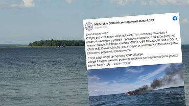 Pożar łodzi na jeziorze Śniardwy