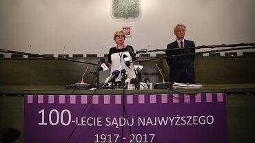 Małgorzata Gersdorf , pierwsza prezes Sadu Najwyższego podczas konferencji dot. pisowskich ustaw o 'odzyskaniu ' SN. Warszawa, 13 lipca 2017