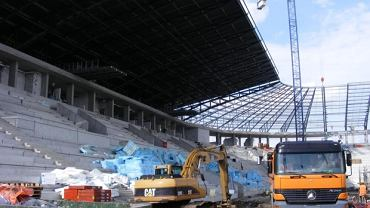 Stan budowy stadionu w Tychach - połowa sierpnia 2014