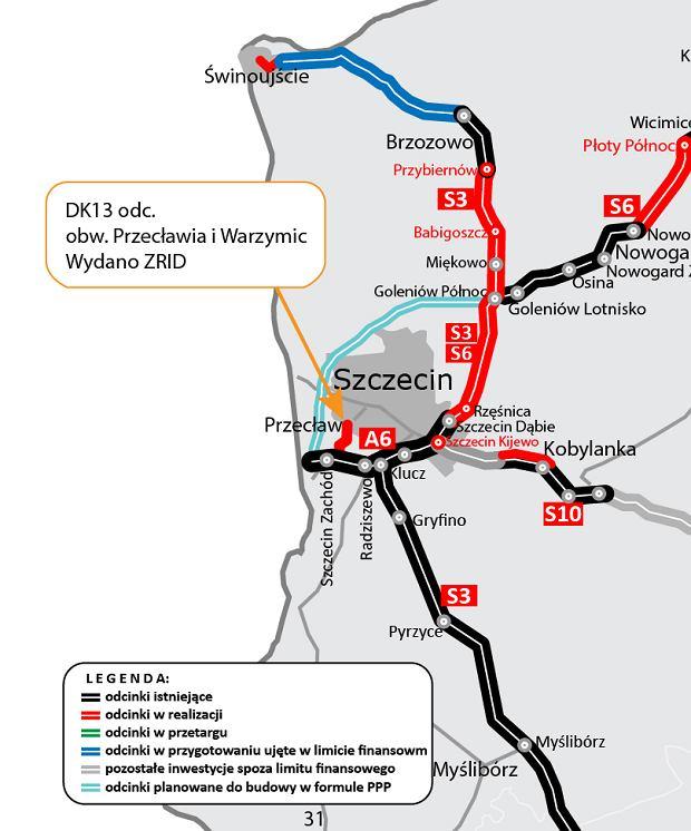 DK13, obwodnica Przecławia i Warzymic pod Szczecinem