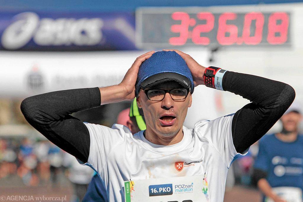 Poznań Maraton 2015 (16. PKO Poznań Maraton). Meta biegu i radość biegaczy