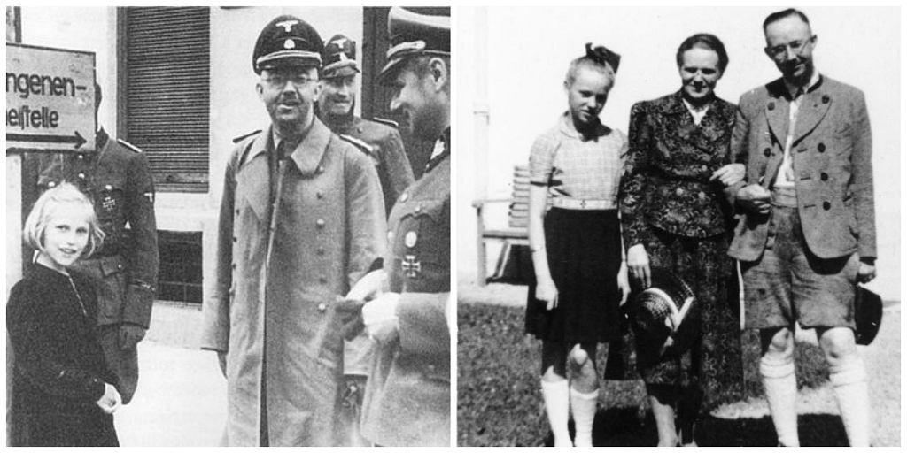 Po lewej Himmler, wraz z córką Gudrun, odwiedza jeden z nazistowskich obozów koncentracyjnych. Po prawej zbrodniarz w towarzystwie żony i córki (fot. Wikimedia.org / Fair use / Wikimedia.org / Bundesarchiv, Bild 146-1969-056-55 / CC-BY-SA 3.0)