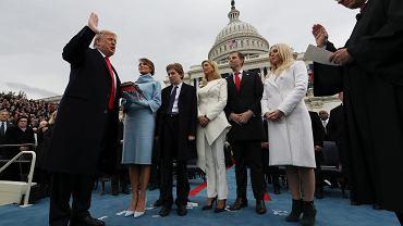 Donald Trump, nowy prezydent USA, podczas zaprzysiężenia