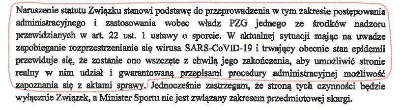Odpowiedź Ministerstwa Sportu na pismo Leszka Blanika