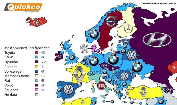 Najczęściej wyszukiwane marki w Europie