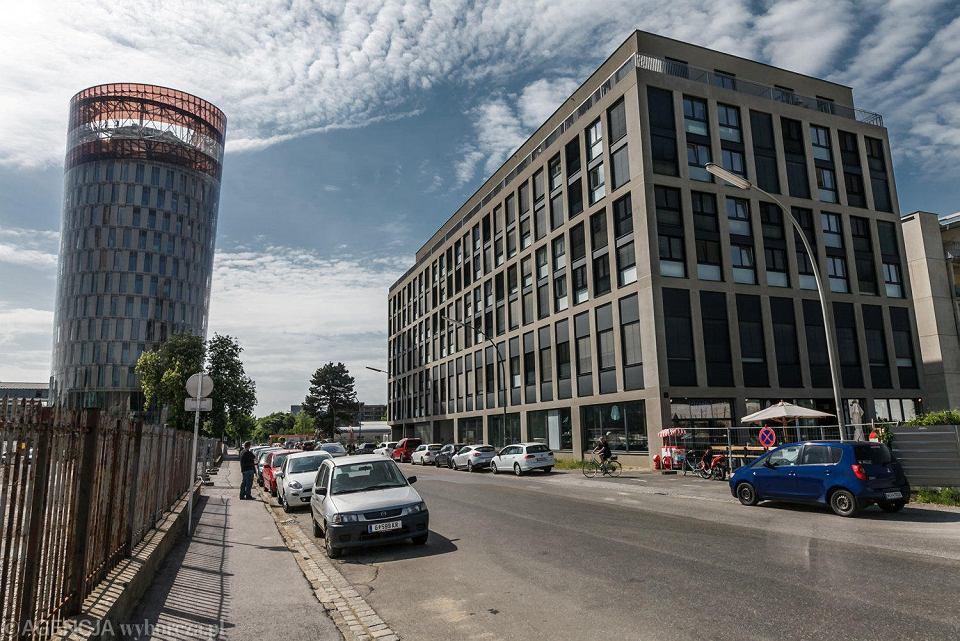 Graz, ulica Waagner Biro. Tutaj realizowany jest program smart city