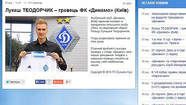 Informacja o podpisaniu kontraktu z Łukaszem Teodorczykiem na oficjalnej stronie Dynama Kijów