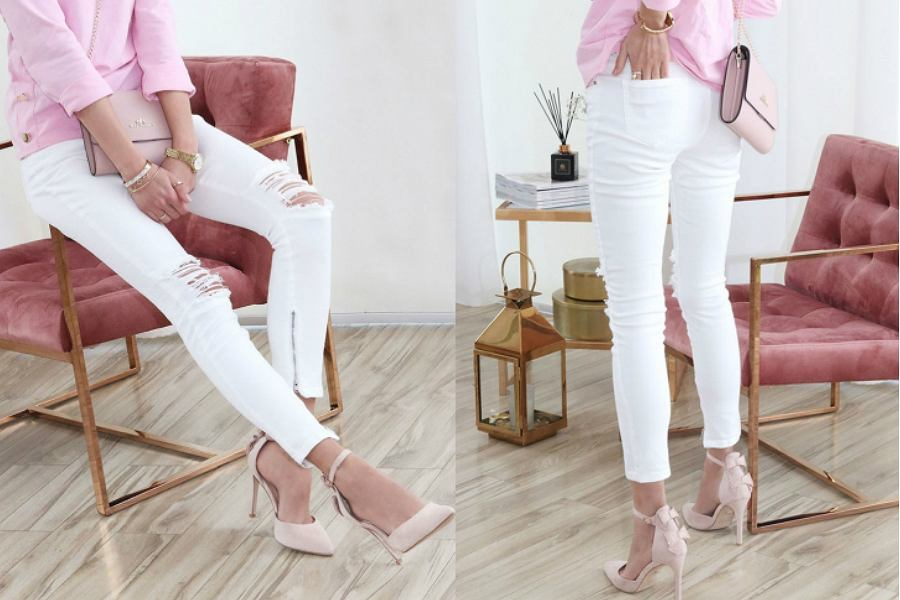 białe spodnie z dziurami