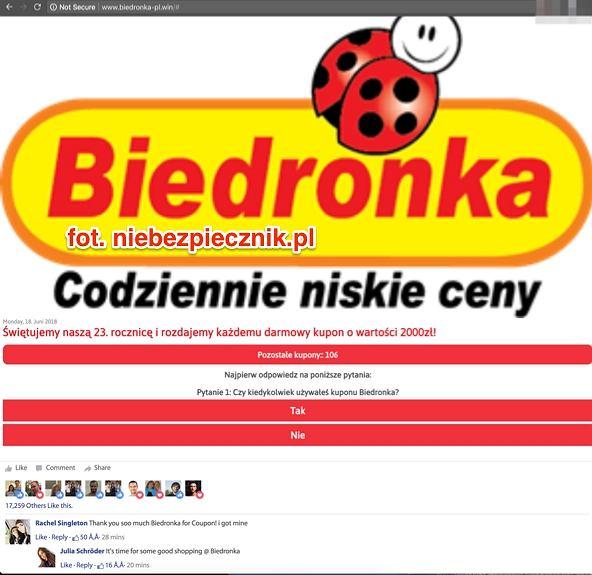 Fałszywa kampania wykorzystująca wizerunek Biedronki