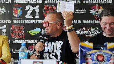 Woodstock 2015 - temat konferencji, którą poprowadził Jurek Owsiak. Na zdjęciu Jurek Owsiak, prezes zarządu WOŚP i Krzysztof Dobies, rzecznik WOŚP