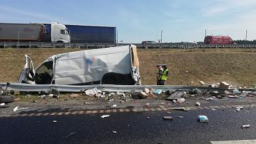 Miejsce wypadku na S7 na odcinku między Waplewem i Pawłowem