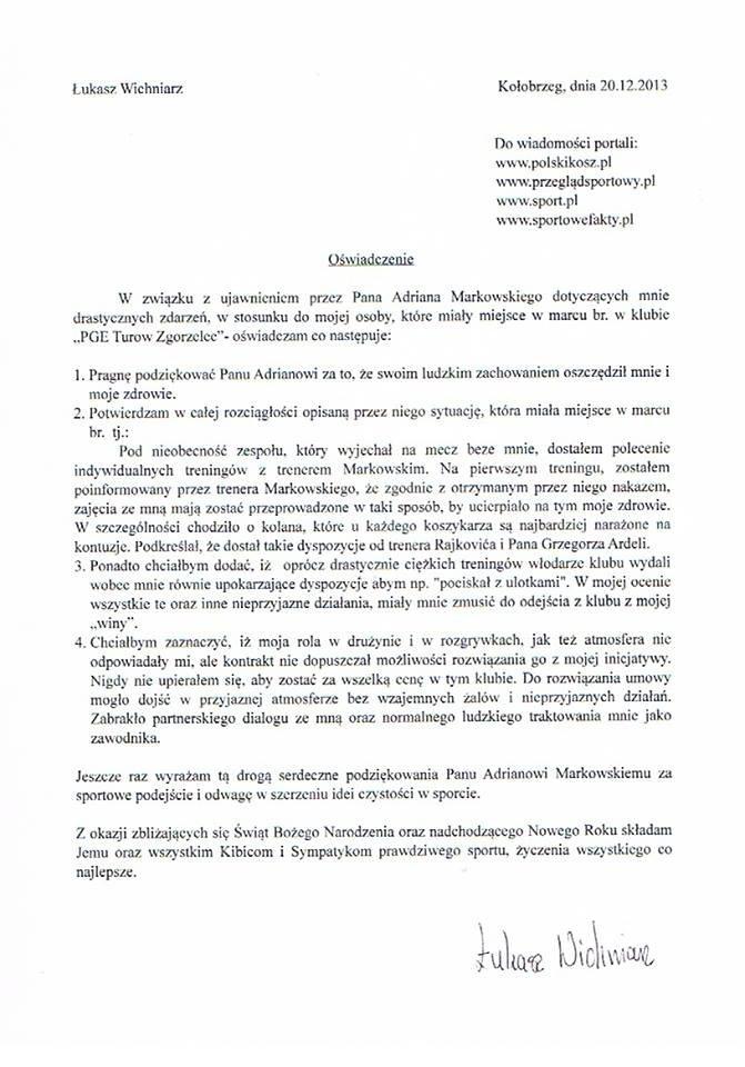 Oświadczenie Łukasza Wichniarza