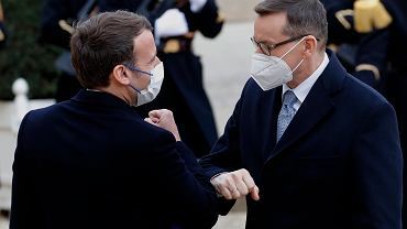 Prezydent Francji Emmanuel Macron i premier Polski Mateusz Morawiecki. Paryż, 17 marca 2021 r.