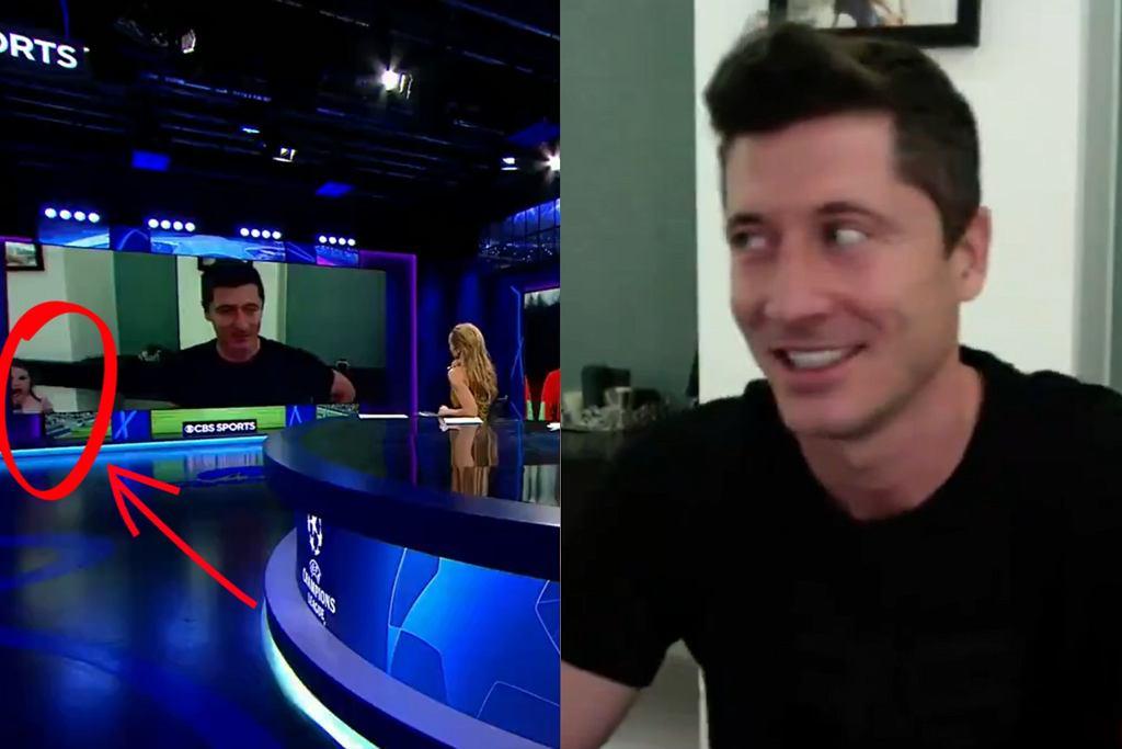 Robert Lewandowski udziela wywiadu, wtem w kadrze Klara