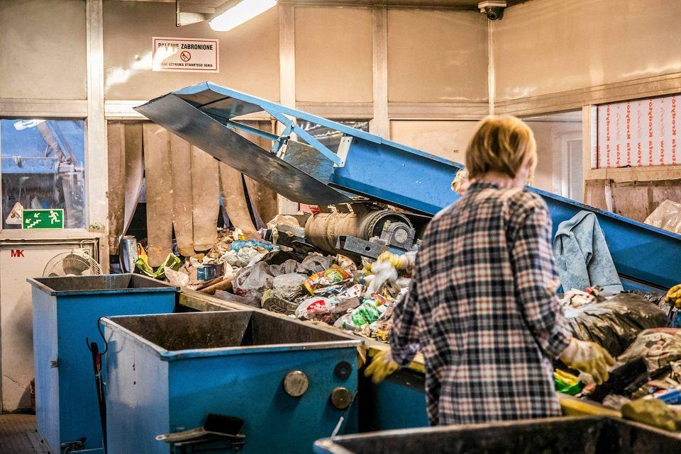 Sortownia odpadów w zakładzie w Kobiernikach