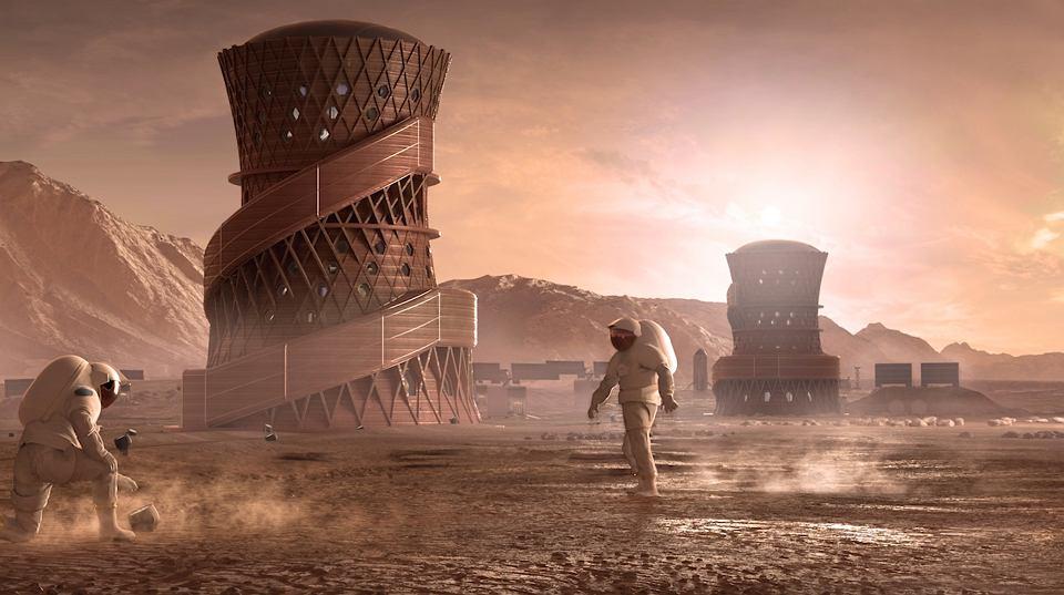 Projekt marsjańskiej wioski stworzony przez zespół firmy SEArch+/Apis Cor z Nowego Jorku zgłoszony na konkurs NASA