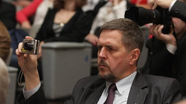 Radny PiS Jarosław Karyś podczas spotkania z Jarosławem Kaczyńskim w Kielcach